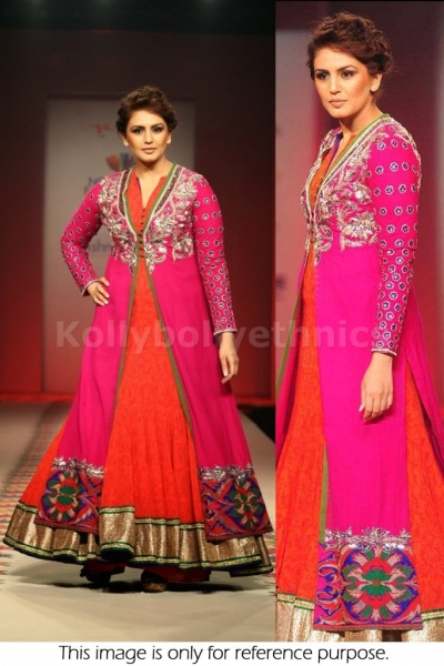 Huma quershi pink and orange Bollywood Anarkali
