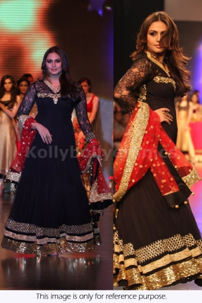 Huma Quershi Balck floor length Bollywood Anarakali