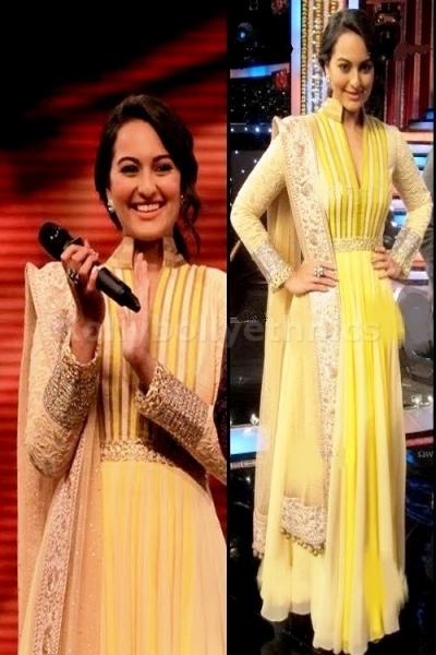 Sonakshi sinha yellow Bollywood Suit