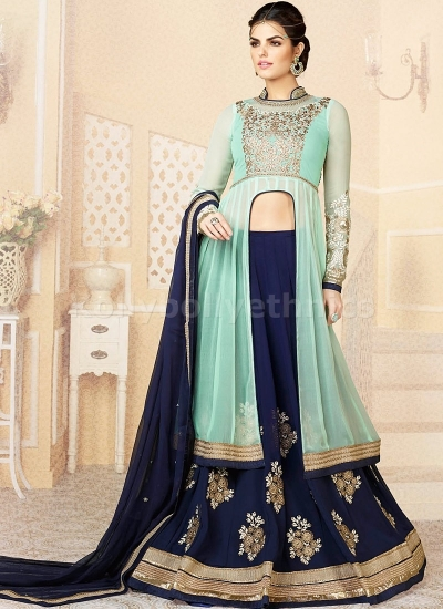 Turquoise blue and dark blue designer lehenga