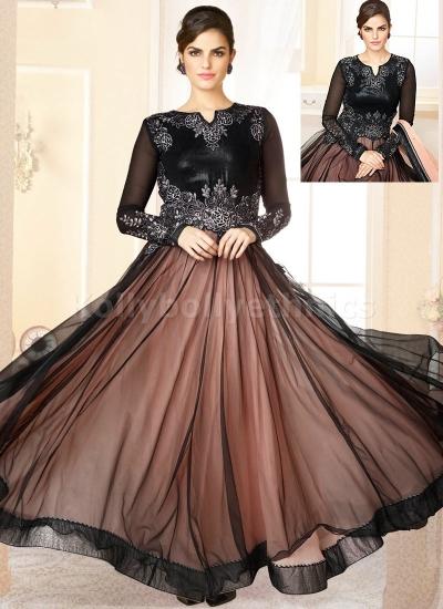 Black net sequins work Party Wear Anarkali