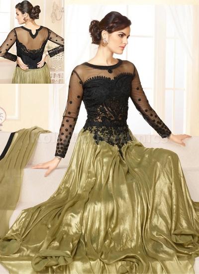 Black and golden Party Wear Anarkali