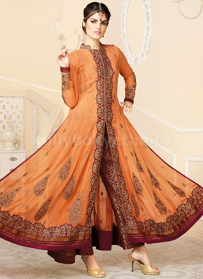 Orange and red pant style Party Wear Anarkali