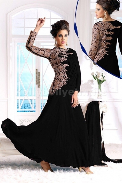 Beautiful Gown style Black designer Anarkali