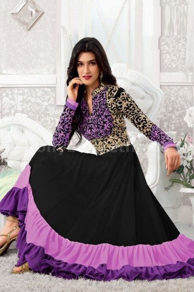 Elegant black and purple colour stone work embroidered anarkali