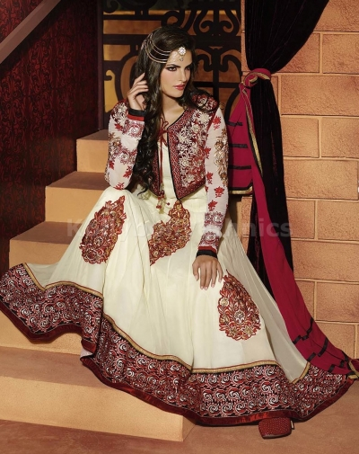 Off White and red jacket style Party Wear anarkali