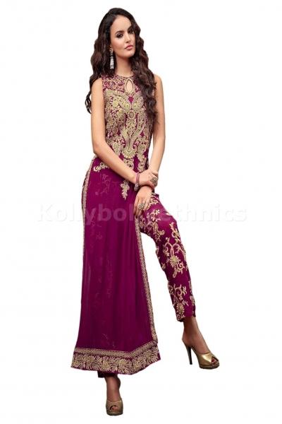 Magenta straight cut kameez Wedding wear Designer Anarkali