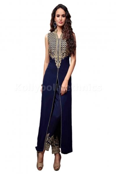 Navy blue straight cut Wedding wear Designer Anarkali