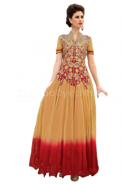 Beige and red Designer Gown