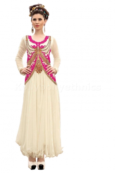 White and pink Designer Gown