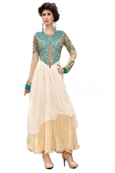 White colour designer embroidred gown