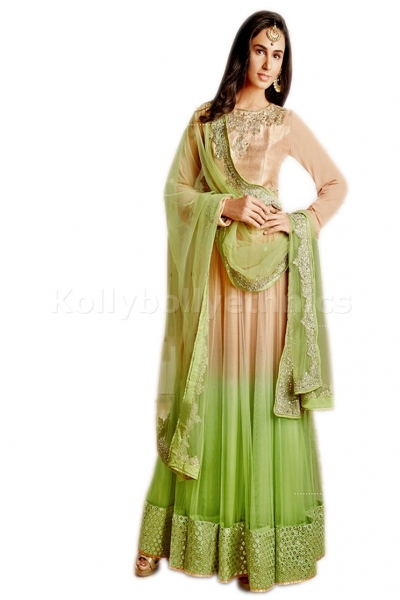 Beige and green colour Party Wear anarkali