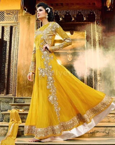 Mustard yellow Party Wear Designer anarkali kameez