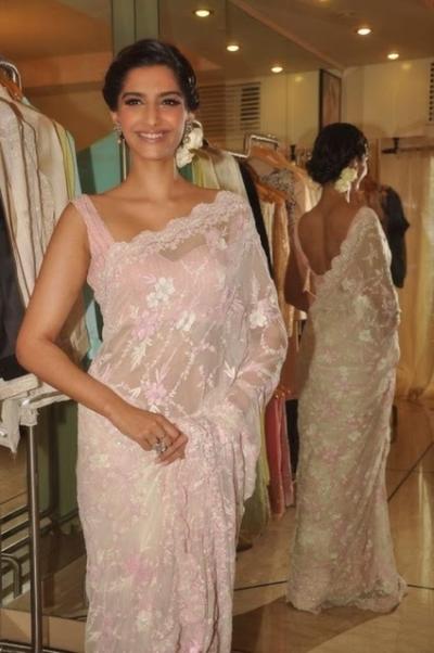 Sonam Kapoor light pink saree