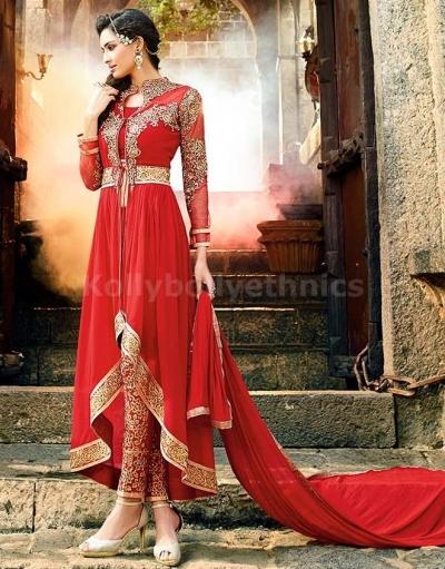 Red Georgette Party Wear Designer anarkali kameez