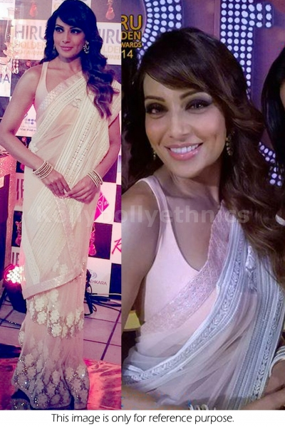 Bipasha light pink bollywood saree