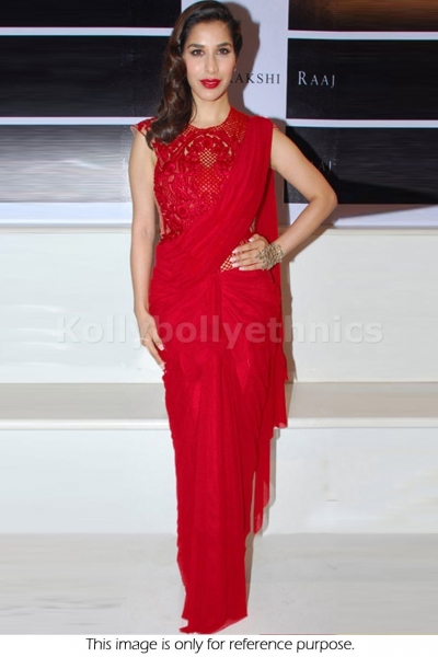Sophie choudry red bollywood saree