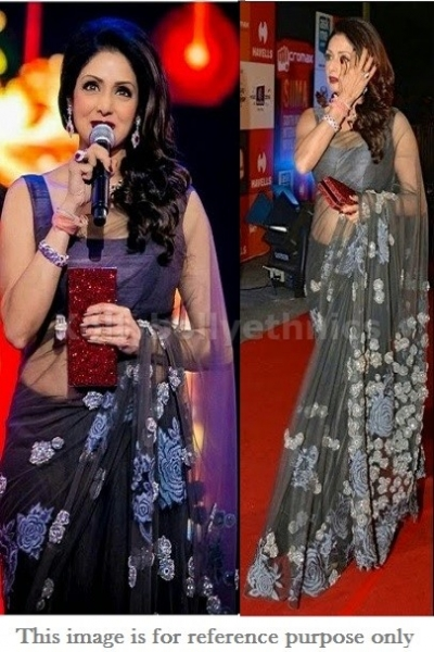 Sridevi gray colour bollywood saree