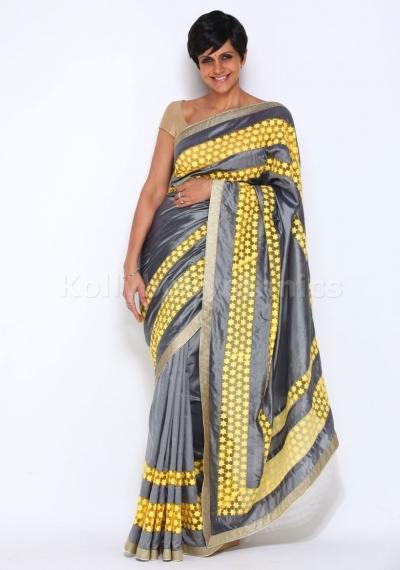 Mandira Bedi gray bollywood saree