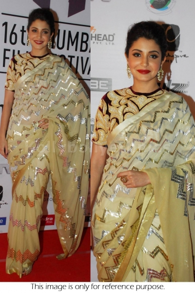 Anushka sharma cream golden bollywood saree