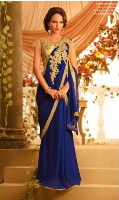 ROYAL BLUE CHIFFON GOWN