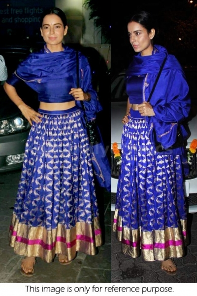 Kangana Ranaut blue silk lehenga choli