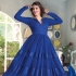 Dark Blue Net / Satin / Brasso Gown