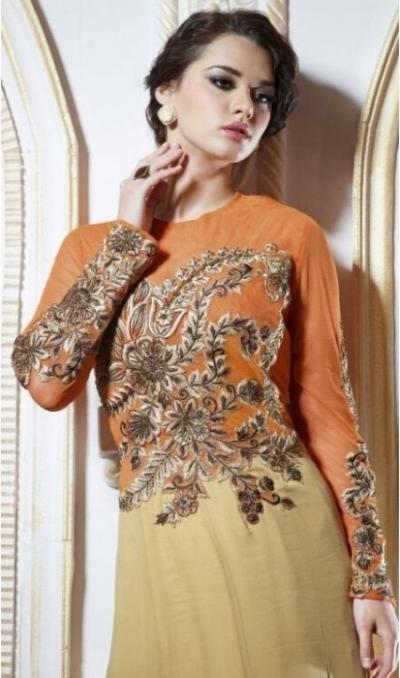 Beige & Orange Pure Georgette Gown