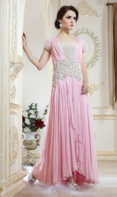 Pink Pure Georgette Gown