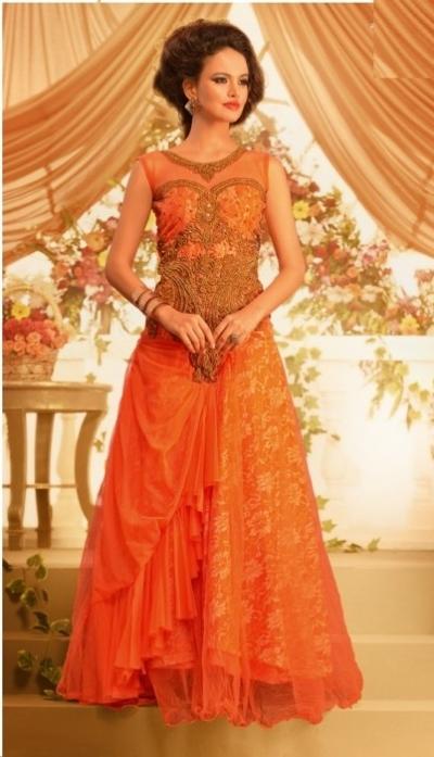 Orange Net Gown