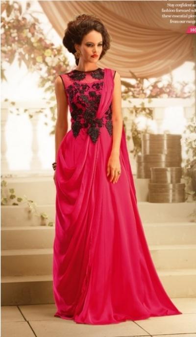 Amaranth Pink Chiffon Gown