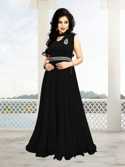 Black Georgette / Velvet Gown