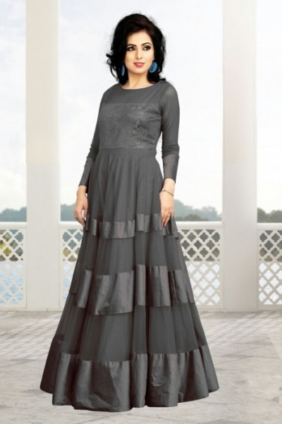 Slate Gray Soft Net / Satin Gown