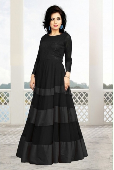 Black Soft Net / Satin Gown