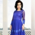 Royal Blue Soft Net   Satin Gown