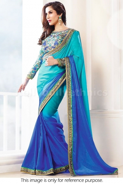Sophie choudry shaded blue bollywood  saree