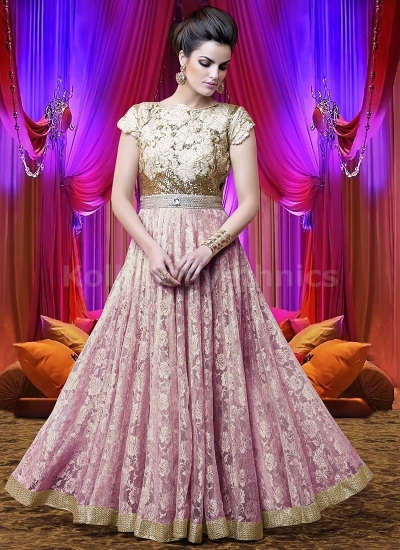 Onion colour Wedding Wear Designer Anarkali salwar kameez