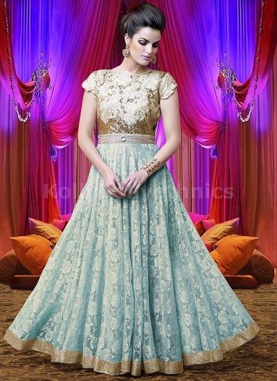 Light bluecolour Wedding Wear Designer Anarkali salwar kameez