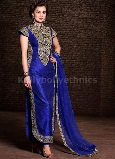 Dia mirza blue colour mirror work party wear kameez