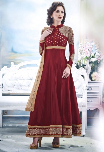 Red Faux Satin Chiffon Anarkali Suit
