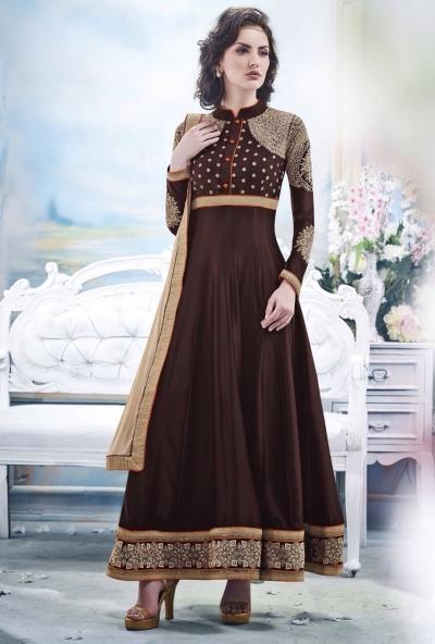Brown Faux Satin Chiffon Anarkali Suit