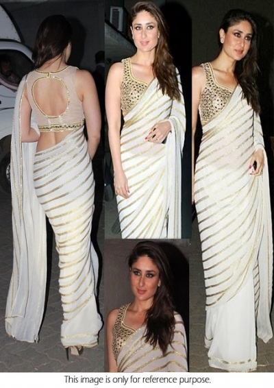 7dab1edb3c0e7 Bollywood Style Kareena Kapoor Georgette Saree in White color