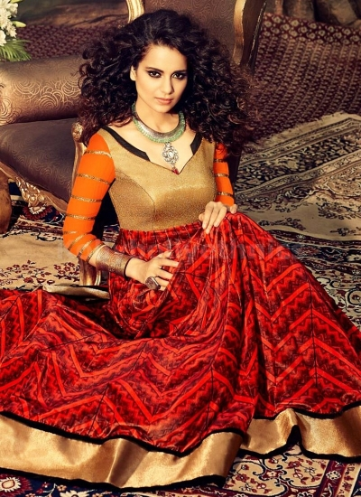 Kangana Ranaut Designer Red Orange Georgette Anarkali Suit