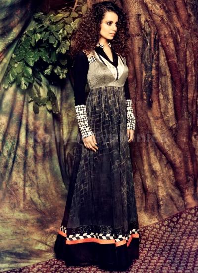 Kangana Ranaut Designer Grey Shaded Anarkali Suit