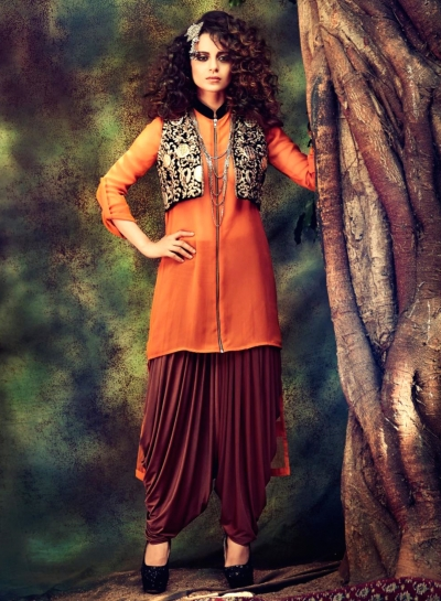 Designer Orange Dhoti Style Suit With Jacket