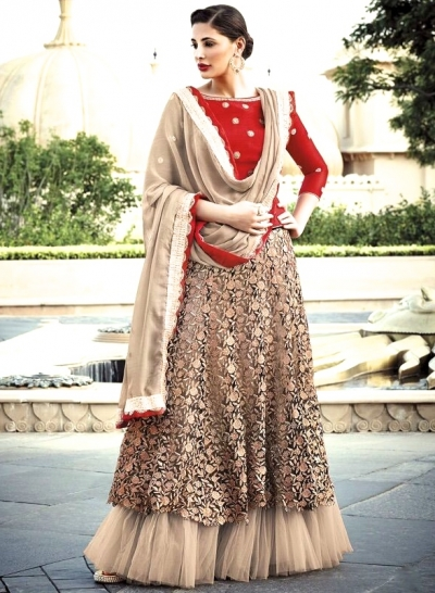 Red And Beige Lehenga Style Anarkali Suit
