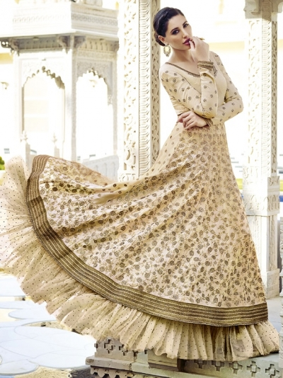 Golden Beige Floor Length Anarkali Suit
