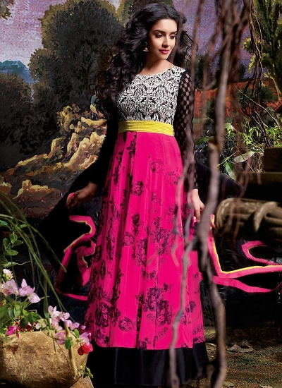 Asin Thottumkal Magenta Georgette Anarkali Suits