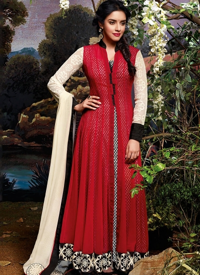 Asin Thottumkal Red Georgette Anarkali Suits