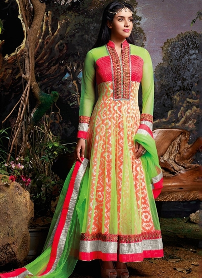Asin Thottumkal Green Net Anarkali Suit